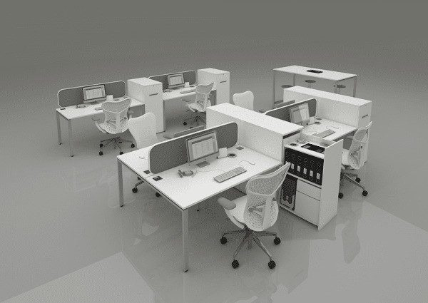 4 Way Cluster Desks Bench Style   Screen Partitioning