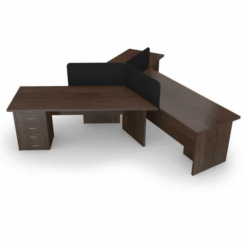 3 Way Cluster Desk – Melamine Screens