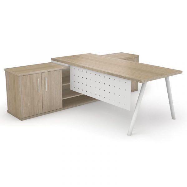 Dakota Desk with Round Tube Legs | A Frame Office Combo Desk