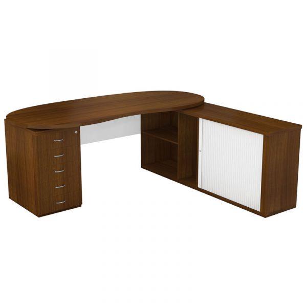 Ohio Top Bean Desk | Executive L Shape Credenza Desk
