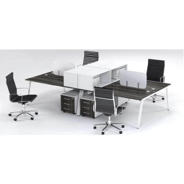 A Frame 4 Way Face to Face Cluster Desks
