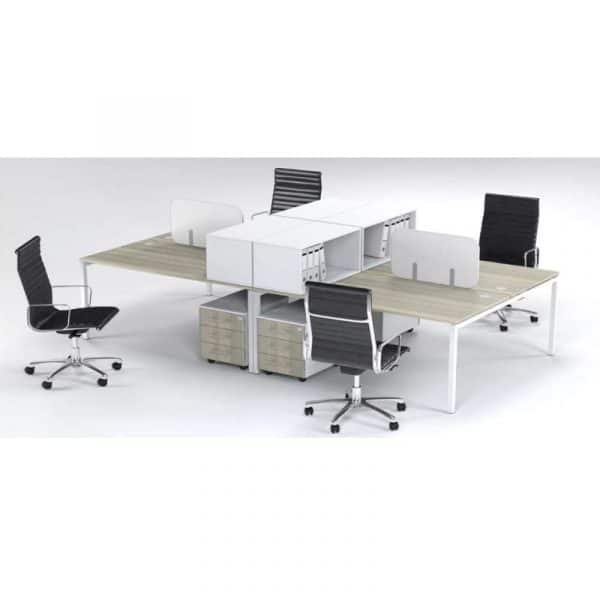 4 Way Cluster Desk Connect Face to Face Bench System