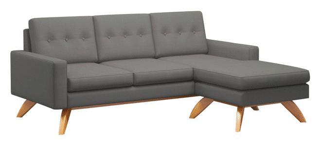 Luna 90 Sofa With Chaise, Chocolate, Walnut Leg Finish, Left-Facing R
