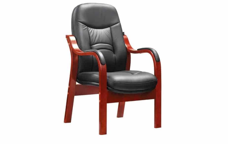 4 Legged Wooden Visitors Chair | Veneer Wood Frame
