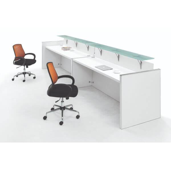 Lexan Double Reception Counter Glass Top Unit