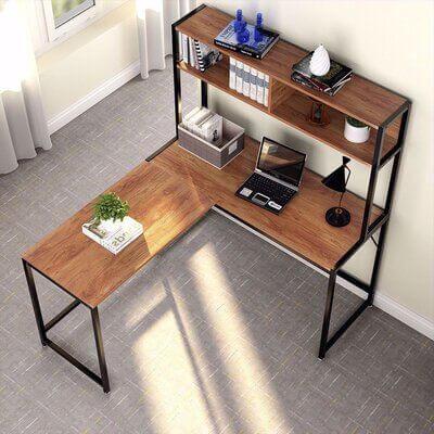 L Shape Metal Storage Desk Shelves