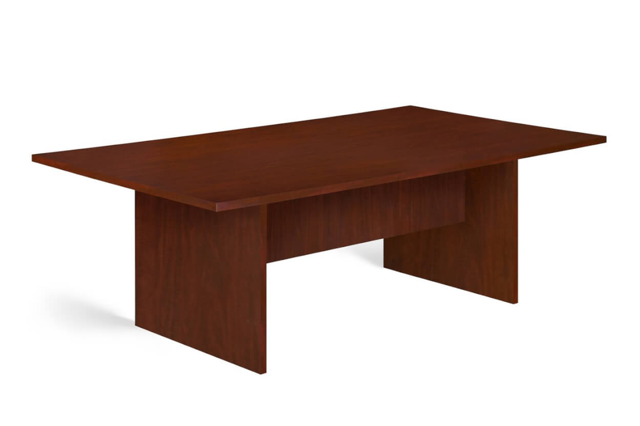 Boardroom table with Panel legs supported by box panel for extra stability